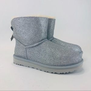 UGG Womens Mini Bailey Bow Sparkle Sheepskin Boots